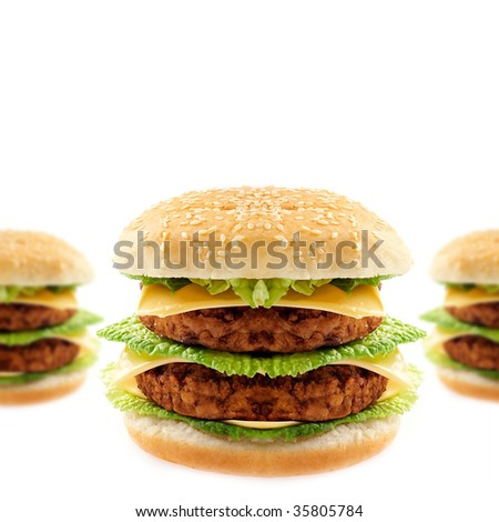 Tasty double hamburger on white background