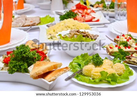 Tasty food - Banquet in the restaurant - stock photo