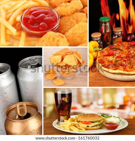 Tasty food collage - stock photo