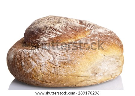 tasty fresh baked bread bun baguette natural food isolated on white background - stock photo