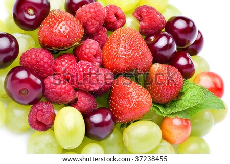 tasty fresh fruits and berries set mixed heap pile close up surface top view background