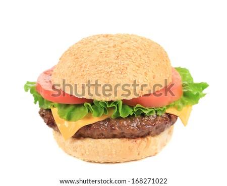Tasty fresh hamburger with sesame seeds. Isolated on a white background. - stock photo