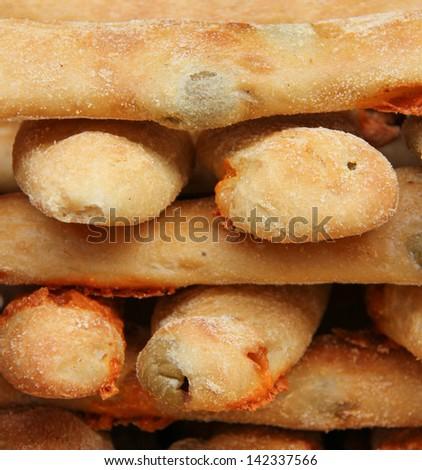 Tasty fresh olive bread, Borough Market, London, England - stock photo