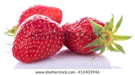Tasty fresh strawberries, isolated on white - stock photo