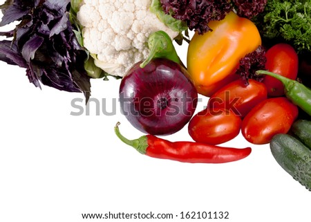 Tasty fresh vegetables for salad preparation isolated on white background - stock photo
