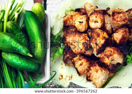 tasty grilled meat and vegetables - stock photo