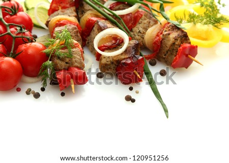 tasty grilled meat and vegetables on skewers, isolated on white - stock photo
