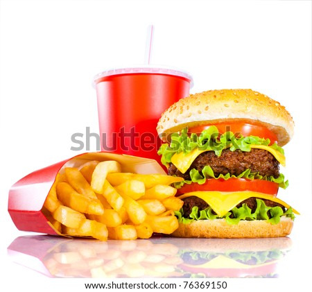 Tasty hamburger and french fries on a white background - stock photo