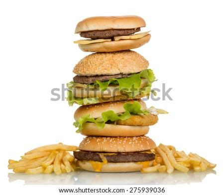 Tasty hamburger sandwiches isolated on white background - stock photo