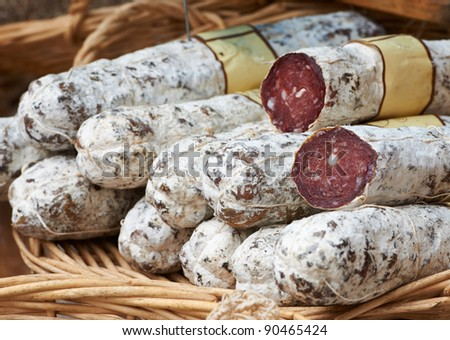 Tasty home-made sausage at the farmers market in Aix en Provence, France - stock photo