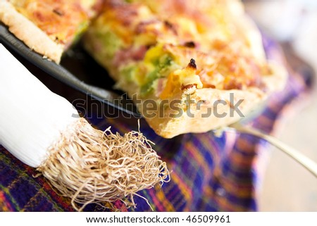 tasty home pie with pepper,broccoli and cheese - stock photo