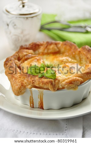 tasty homemade quiche with chicken - stock photo