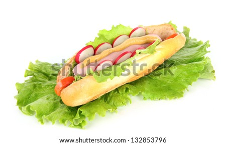 Tasty hot dog with vegetables isolated on white