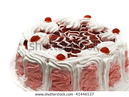 Tasty iced cake with cherries and beautiful red pattern - stock photo