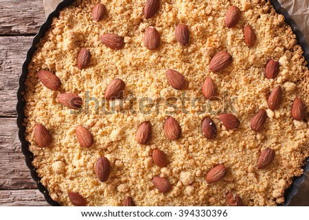 Tasty Italian almond cake Sbrisolona close up in baking dish. horizontal view from above