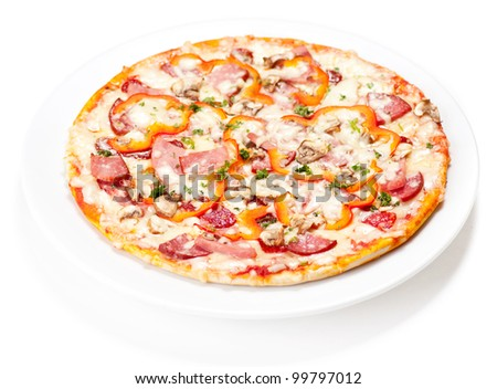 Tasty Italian Pepperoni pizza. Isolated on white - stock photo