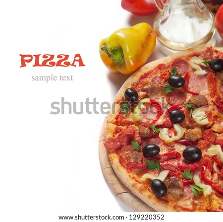 Tasty Italian pizza - stock photo