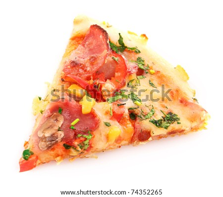 Tasty Italian pizza over white - stock photo