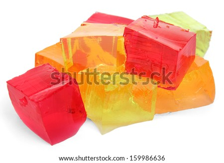 Tasty jelly cubes isolated on white - stock photo