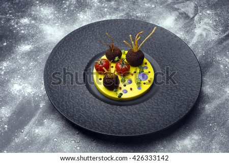 Tasty juicy fried meatballs with tomato on potatoes in a black plate - stock photo