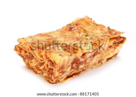 Tasty lasagne over white - stock photo