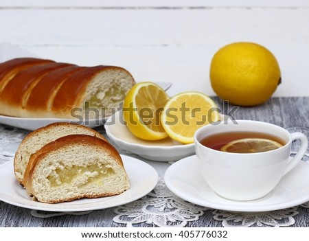 Tasty lemon cake. - stock photo
