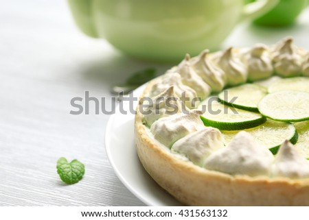 Tasty lime cake, closeup