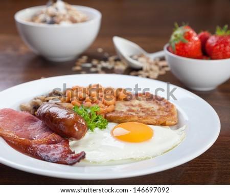 Tasty looking full English breakfast - stock photo