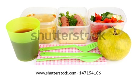Tasty lunch in plastic containers, isolated on white