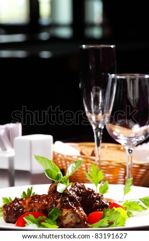 tasty meat and dessert dishes for the restaurant menu
