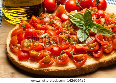 tasty  Mediterranean bruschetta, traditional Italian cuisine - stock photo