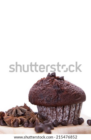 tasty muffin cake, isolated on white  isolated on white background