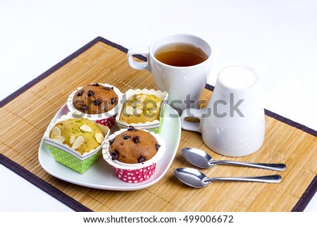 tasty muffin cake set breakfast on isolated background