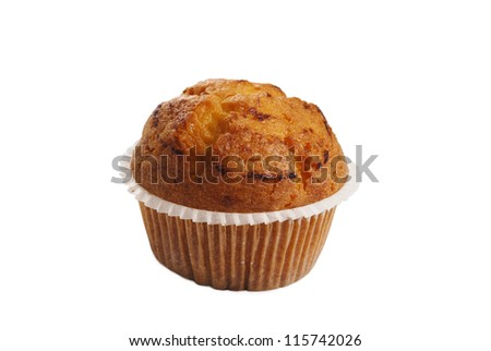 Tasty muffin isolated on white background - stock photo
