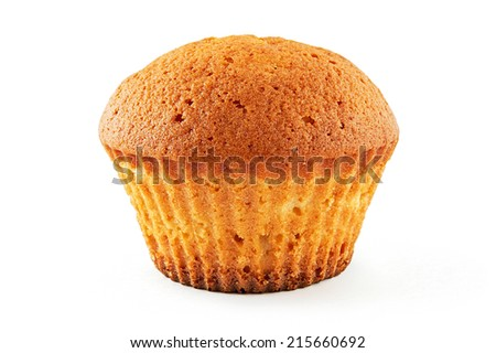 Tasty muffin on white background - stock photo
