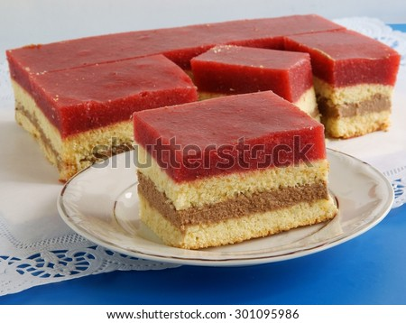 tasty multicolor layer-cake with buscuit,chocolate mas,strawberry pulp gelly