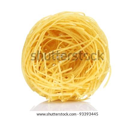 tasty noodles isolated on white - stock photo