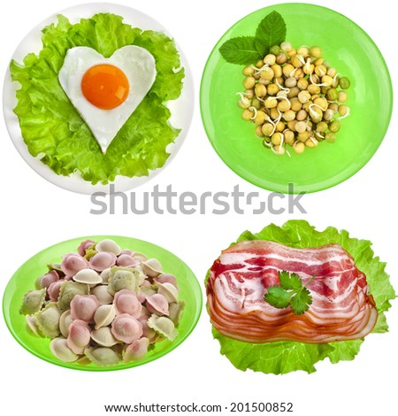 Tasty nutritious meals on a plate with dumplings, bacon, egg, pea sprouts isolated on white background - stock photo