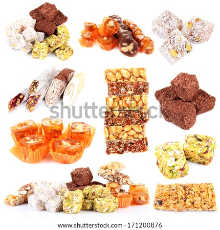Tasty oriental sweets collage isolated on white - stock photo