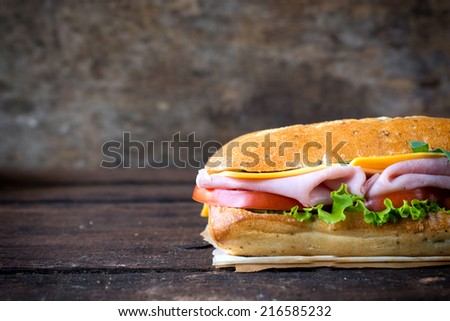 Tasty panini sandwich stuffed with ham and vegetables on wooden background with blank space on left side,selective focus - stock photo