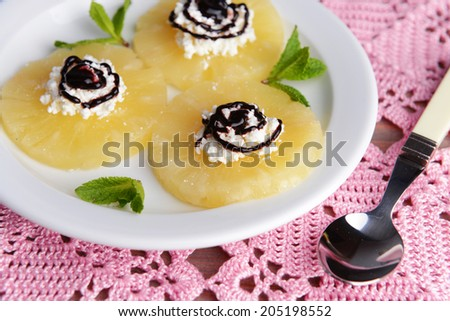 Tasty pineapple with cottage cheese, close up - stock photo