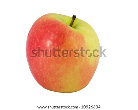 Tasty pink apple isolated on white background
