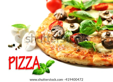 Tasty pizza and vegetables on white background - stock photo
