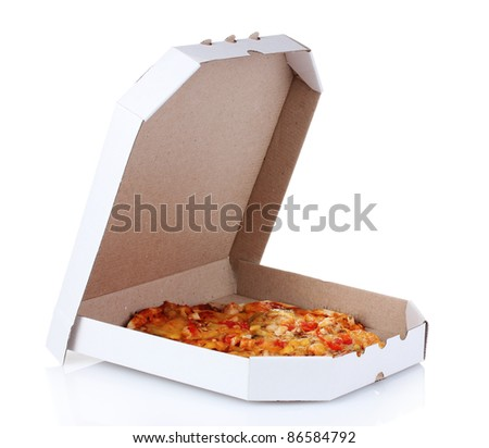 tasty pizza in the package is isolated on white - stock photo