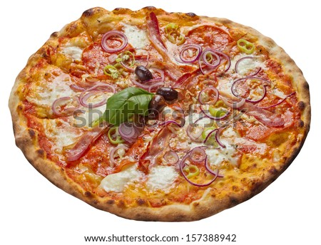 Tasty pizza isolated on white. Studio shot
