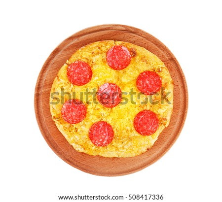 Tasty pizza on wooden board and white background