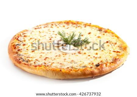 Tasty Pizza with Fried Mushrooms - stock photo