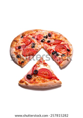 Tasty pizza with ham, tomatoes, and olives, selective focus, isolated on white background  - stock photo