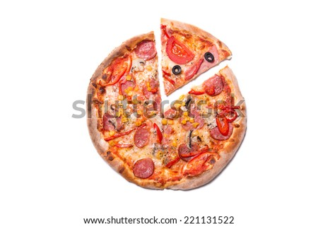 Tasty pizza with pepperoni with a slice removed, top view isolated on white background