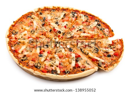 Tasty pizza with seafood, isolated on white